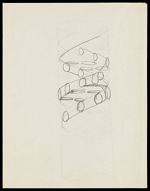 DNA - Pencil sketch of the DNA double helix by Francis Crick in 1953
