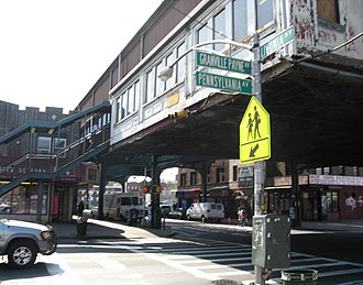 Pennsylvania Avenue (Brooklyn) - Pennsylvania Avenue at the corner of Livonia Avenue, near elevated subway station