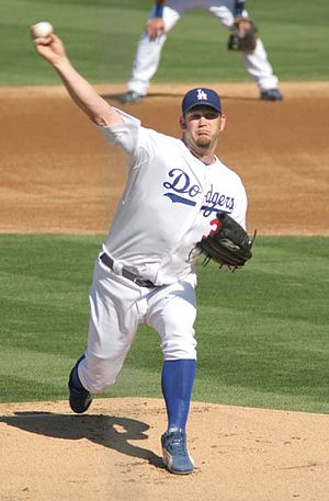 Brad Penny - Penny pitching for the Los Angeles Dodgers during spring training action in Arizona, 2008.
