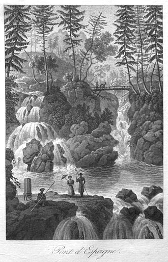 Cauterets - An engraving by A. M. Perrot, 1834