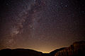 Perseid meteors and the Milky Way - Red Rock Canyon - Kern County, California, USA - 13 Aug. 2010.jpg