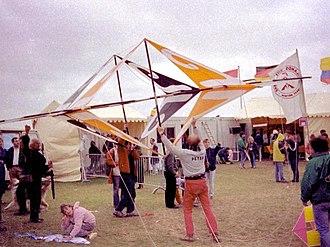 Kiteboarding - Peter Lynn lifting a kite in Dieppe, September 1988