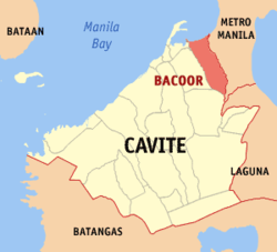 Map of Cavite showing the location of the city of Bacoor.