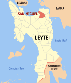 Map of Leyte with San Miguel highlighted