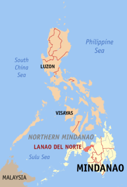 Map of the Philippines with Lanao del Norte highlighted