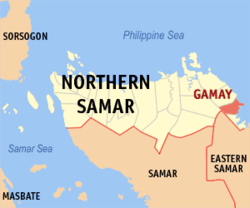 Map of Northern Samar with Gamay highlighted