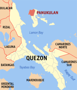 Map of Quezon showing the location of Panukulan