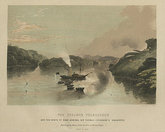 Kingdom of Sarawak - Steamer Phlegethon and the boats of Thomas Cochrane repelling an attack from the forts of Borneo Proper on 8 July 1846