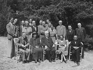 Arthur Ponsonby, 1st Baron Ponsonby of Shulbrede - The International Council of the War Resisters' International (WRI), meeting in Broederschapshuis (The Brotherhood House), Bilthoven, Netherlands in July 1938, during the Spanish Civil War. Ponsonby is pictured standing far right in the photograph. Click on the image for further details of people in the photograph.