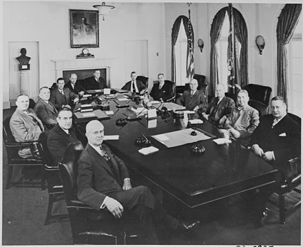 Sawyer (in the foreground) as Secretary of Commerce at a meeting of Truman's cabinet (February 1949) Photograph of President Truman with his Cabinet and other top advisors, in the Cabinet Room at the White House... - NARA - 200084.jpg