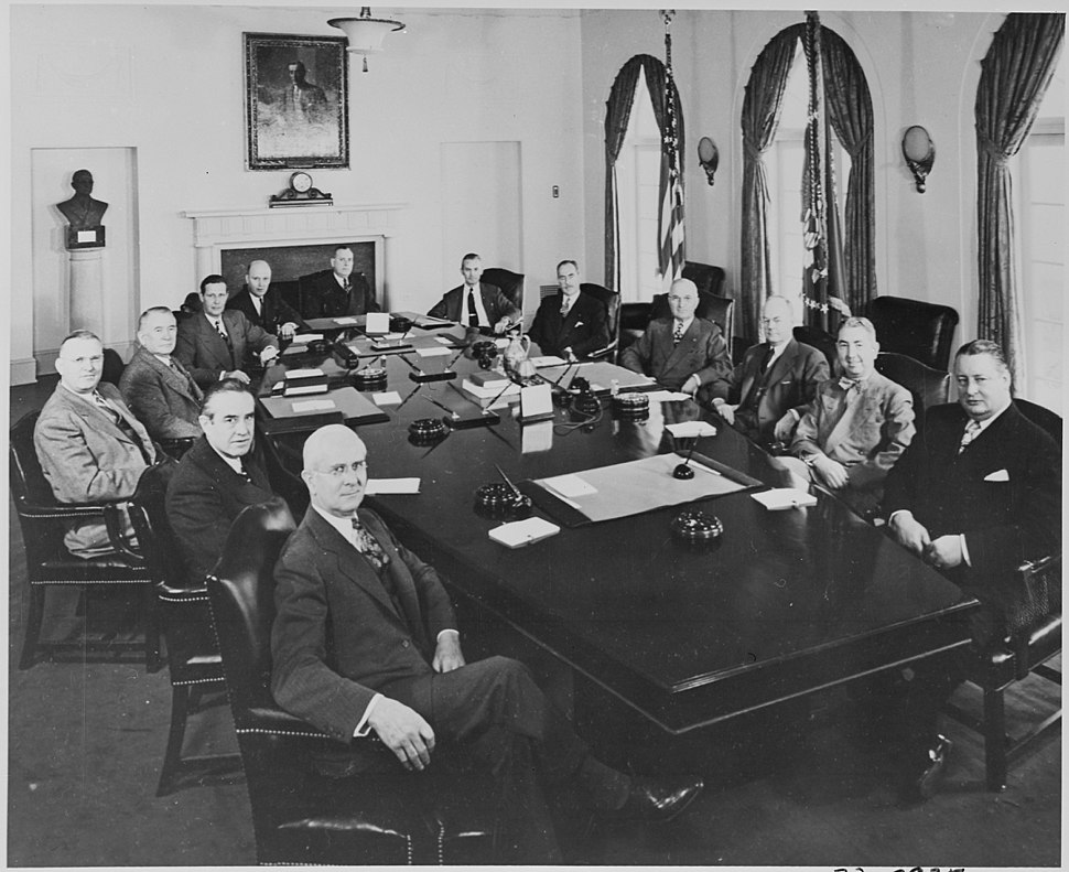 Photograph of President Truman with his Cabinet and other top advisors, in the Cabinet Room at the White House... - NARA - 200084