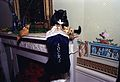 Photograph of Socks the Cat Peeking into his Christmas Stocking- 12-21-1993 (6461514427).jpg