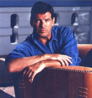 Pacific Green - Former Environmental Spokesperson, Pierce Brosnan, on Pacific Green sofa.