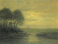 Piet Mondriaan - Panoramic sunset with two windmills - A421 - Piet Mondrian, catalogue raisonné.jpg