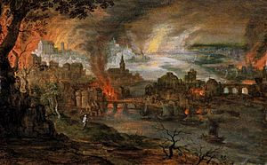 The Bible and violence - Pieter Schoubroeck - The Destruction of Sodom and Gomorrah, c.1600