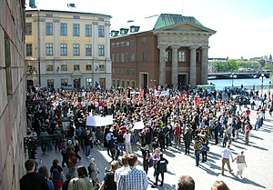 Mynttorget - One of the often occurring demonstrations at Mynttorget.