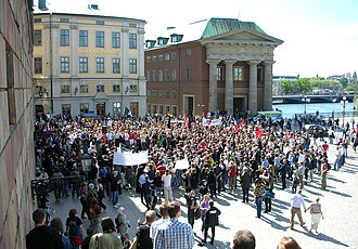 The Pirate Bay trial - Swedes protesting the police raid during a demonstration on June 3, 2006