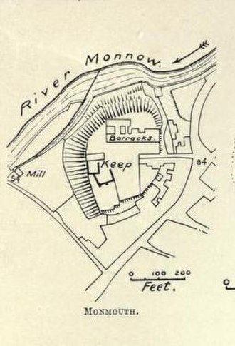 Monmouth Castle - Plan of the castle, as it was in 1904