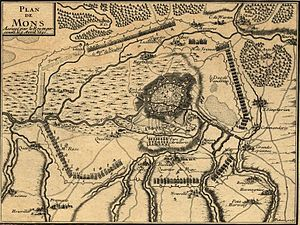 Siege of Mons (1691) - Contemporary plan showing the bombardment and investment of Mons in 1691.