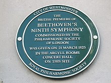 Commemorative plaque of the London premier of Beethoven's 9th symphony, commissioned by Ries (Source: Wikimedia)