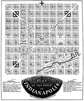 Pogue's Run - Original plat of Indianapolis by Alexander Ralston, with Pogue's Run in the southeast section