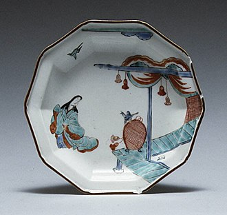 Japanese export porcelain - Plate with Japanese court woman and birds, Imari ware, 1710–1730