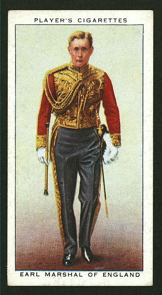 Bernard Fitzalan-Howard, 16th Duke of Norfolk - Image: Player's cigarettes Earl Marshal