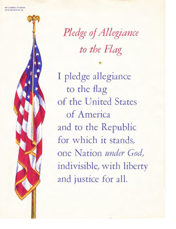 a description of pledging allegiance to the flag of the united states of america The pledge of allegiance to the flag: i pledge allegiance to the flag of the united states of america, and to the republic for which it stands, one nation under god, indivisible, with liberty and justice for all, should be rendered by standing at attention facing the flag with the right hand over the heart.