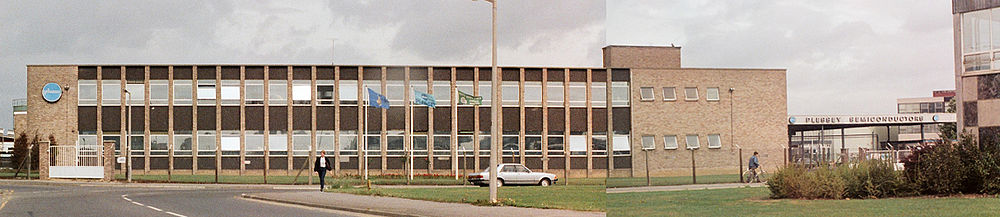 Plessey Semiconductors factory at Cheney Manor, Swindon in 1982. The factory housed both bipolar and MOS lines. A small part of the canteen facilities (which had five grades of service) for all Plessey employees is visible on the right of the image, since demolished around 2010 Plessey Semiconductors Swindon 1982.jpg