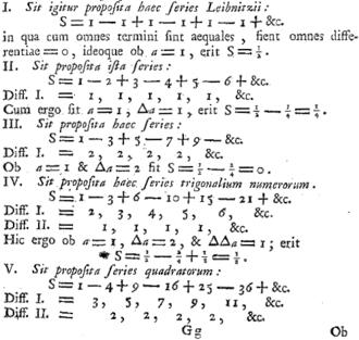 1 − 2 + 3 − 4 + ⋯ - Excerpt from p.233 of the E212 — Institutiones calculi differentialis cum eius usu in analysi finitorum ac doctrina serierum. Euler sums similar series, ca. 1755.