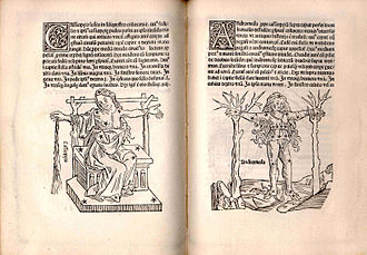 De Astronomica - Two pages from the Ratdolt edition of the De Astronomica showing woodcuts of the constellations Cassiopeia and Andromeda.  Courtesy of the US Naval Observatory Library