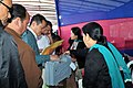 Polling officials collecting the Electronic Voting Machine (EVM) and other necessary belongings for use in the General Elections-2014, at the distribution centre, at Kurseong, Darjeeling constituency on April 16, 2014.jpg