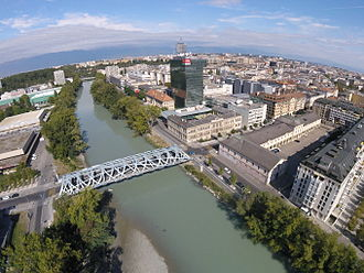 Hans Wilsdorf Bridge - The Hans Wilsdorf Bridge, aerial view