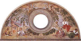 Poggio a Caiano - Vertumnus and Pomona: lunette frescoed by Jacopo Pontormo, in the Medici Villa.