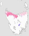 Population distribution map of the Tasmanian giant freshwater crayfish (Astacopsis gouldi).png