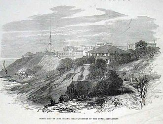 Andaman Islands - The Ross Island prison headquarters, 1872