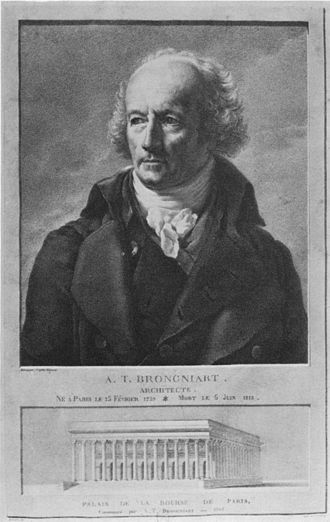 Alexandre-Théodore Brongniart - Alexandre-Théodore Brongniart with his design for the Paris Bourse (1808)