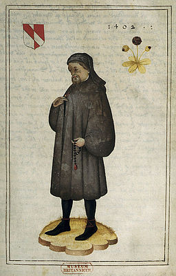 Portrait of Chaucer - Portrait and Life of Chaucer (16th C), f.1 - BL Add MS 5141