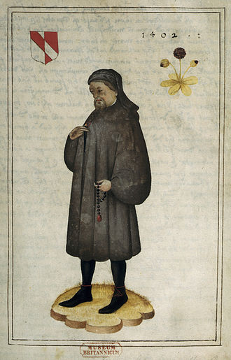 Geoffrey Chaucer - Portrait of Chaucer (16th century), f.1 – BL Add MS 5141. The arms are: Per pale argent and gules, a bend counterchanged