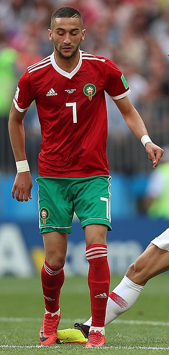 Hakim Ziyech - Ziyech playing for Morocco at the 2018 FIFA World Cup.