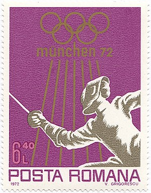 Romania at the 1972 Summer Olympics - Fencing at the 1972 Summer Olympics on a Romanian stamp