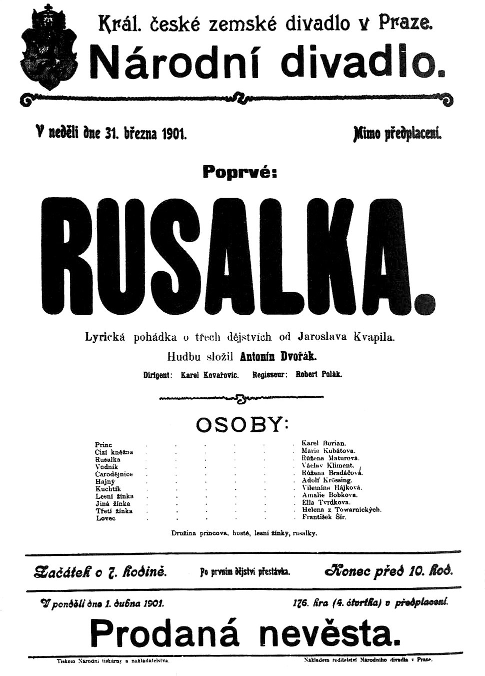 Poster for the premiere of Rusalka in Prague, 31 March, 1901.