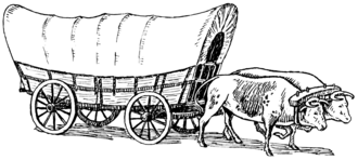 Conestoga wagon - Line art drawing of a Conestoga wagon pulled by oxen