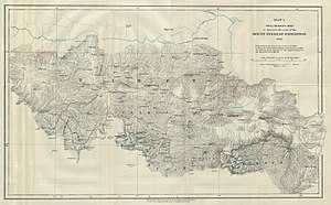 1921 British Mount Everest reconnaissance expedition - Morshead's map showing routes taken during the expedition