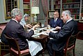 President Bill Clinton has lunch with King Hussein of Jordan, Prime Minister Benjamin Netanyahu of Israel, and Chairman Yasser Arafat of the Palestinian Authority.jpg