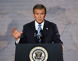 President George W. Bush delivers remarks on Iraq at the Cincinnati Museum Center