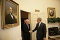 President George W. Bush welcomes Minister Mentor Lee Kuan Yew of Singapore.jpg