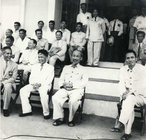 President Ho Chi Minh watching soccer 1958