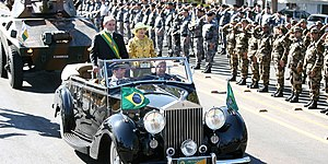 Independence Day (Brazil) - President Luiz Inácio Lula da Silva, beside his wife Marisa Letícia, reviews troops during the parade in 2007.