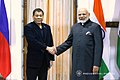 President Rodrigo Roa Duterte poses for a photo with Indian Prime Minister Narendra Modi prior to the start of the bilateral meeting at the Hyderabad House in New Delhi.jpg